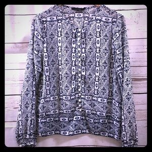 Large Olivaceous Navy Patterned Sheer Blouse